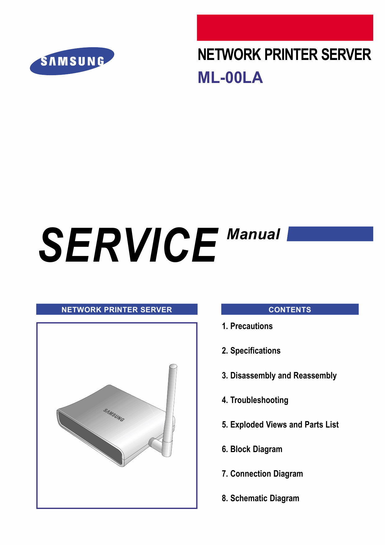 Samsung Network-Printer-Server ML-00LA Parts and Service Manual-1